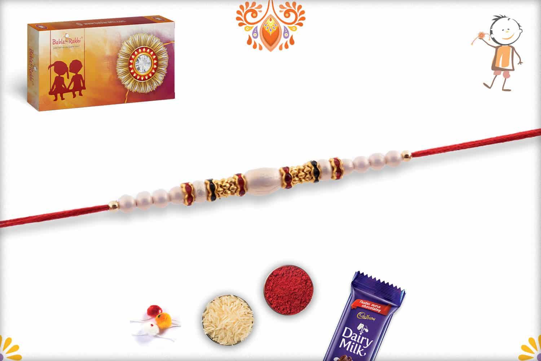White Pearl Rakhi with Diamond Rings   Send Rakhi Gifts Online 2