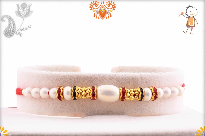 White Pearl Rakhi with Diamond Rings   Send Rakhi Gifts Online 1