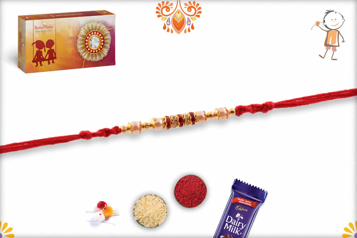 Handcrafted Red Thread Pearl Rakhi with Diamond Rings | Send Rakhi Gifts Online 2