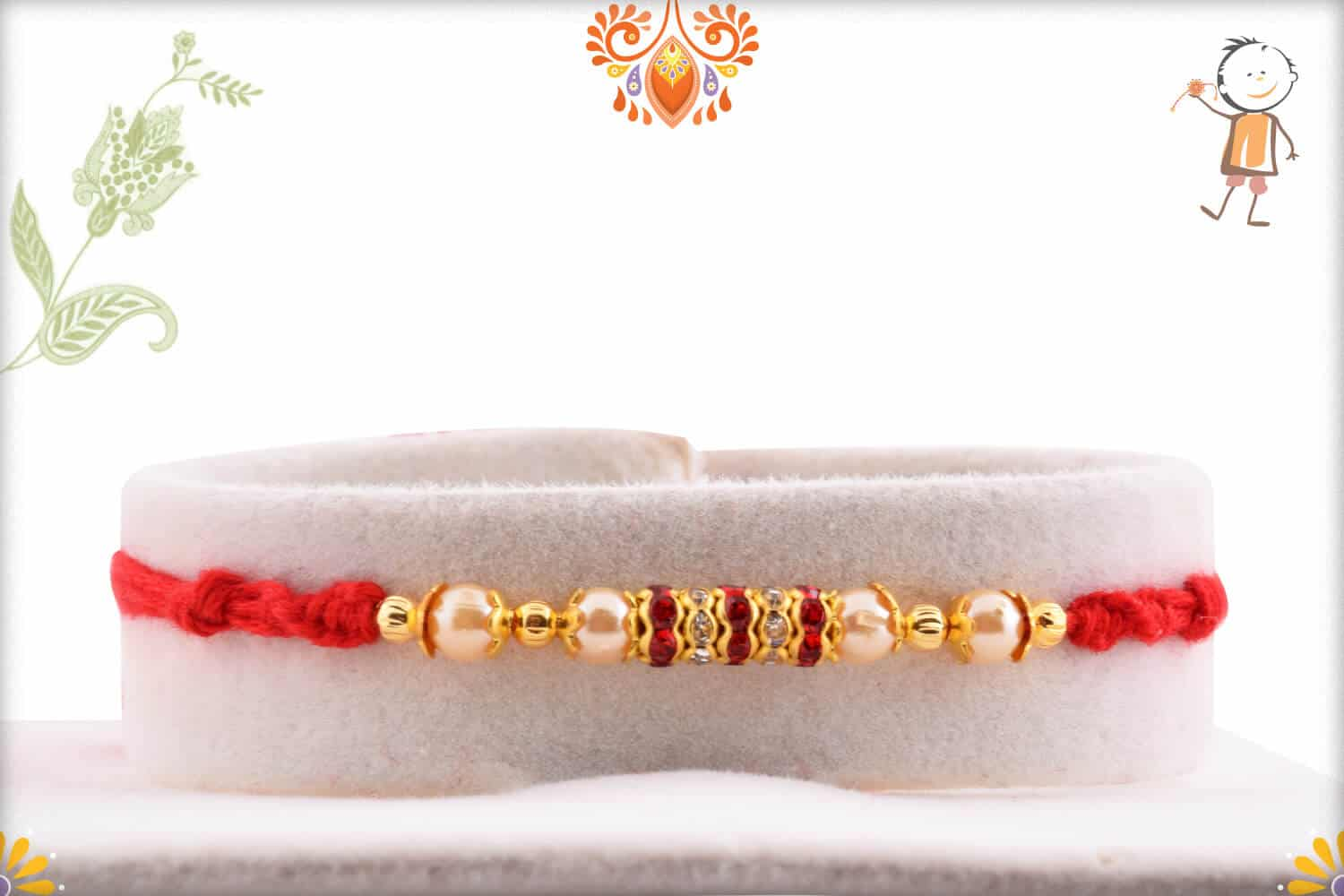 Handcrafted Red Thread Pearl Rakhi with Diamond Rings | Send Rakhi Gifts Online 1