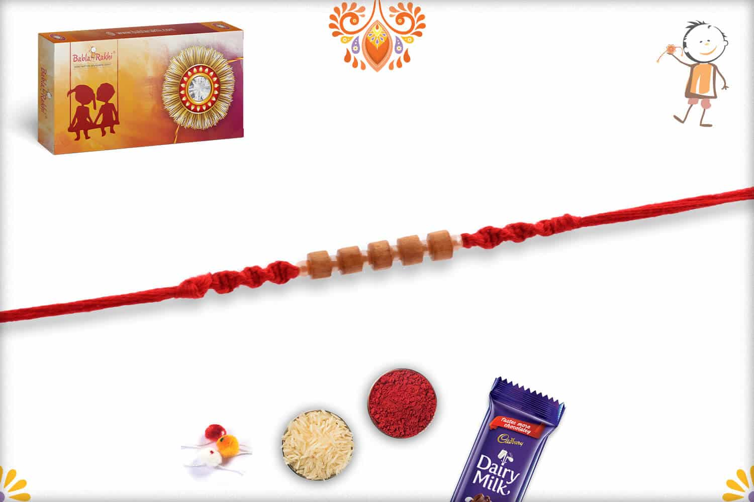 Handcrafted Sandalwood Bead with Small Pearl Rakhi 2