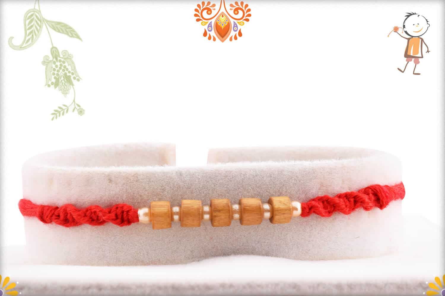 Handcrafted Sandalwood Bead with Small Pearl Rakhi 1
