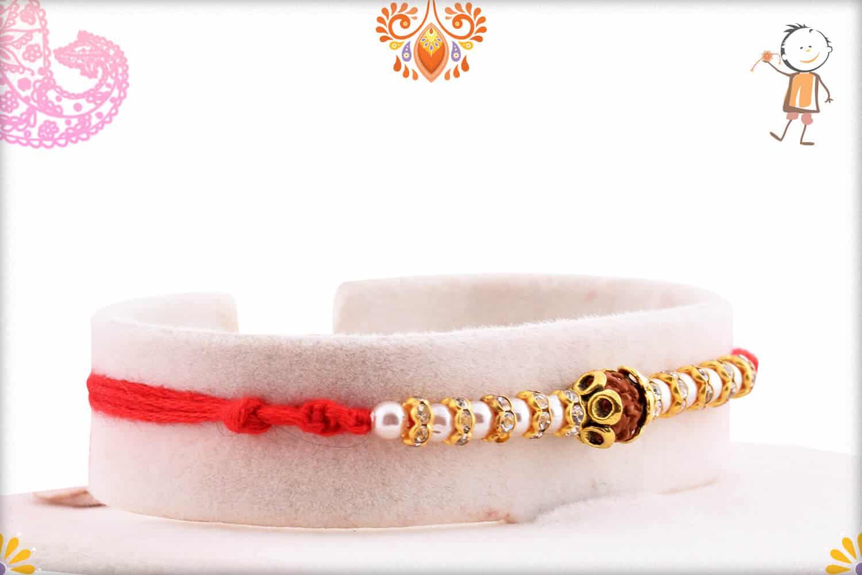 Auspicious Rudraksh with Pearl and Diamond Rakhi   Send Rakhi Gifts Online 2