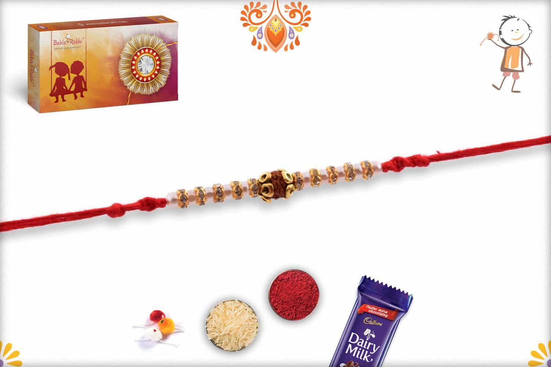 Auspicious Rudraksh with Pearl and Diamond Rakhi   Send Rakhi Gifts Online 3