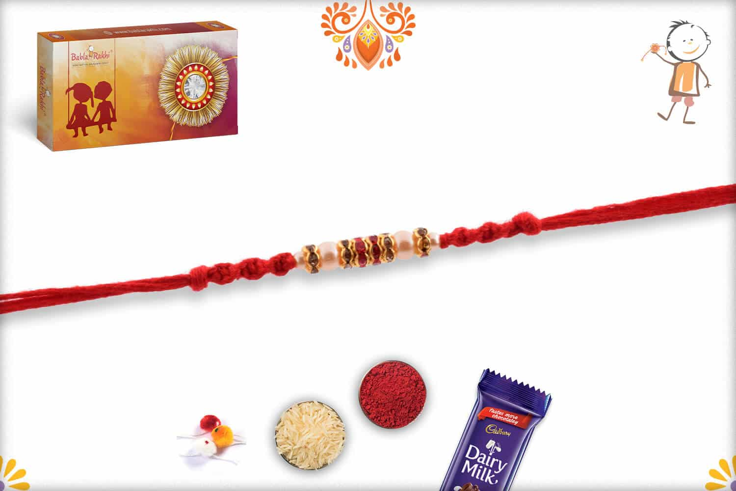 Pearl and Diamond Rakhi with Handcrafted Red Thread | Send Rakhi Gifts Online 2