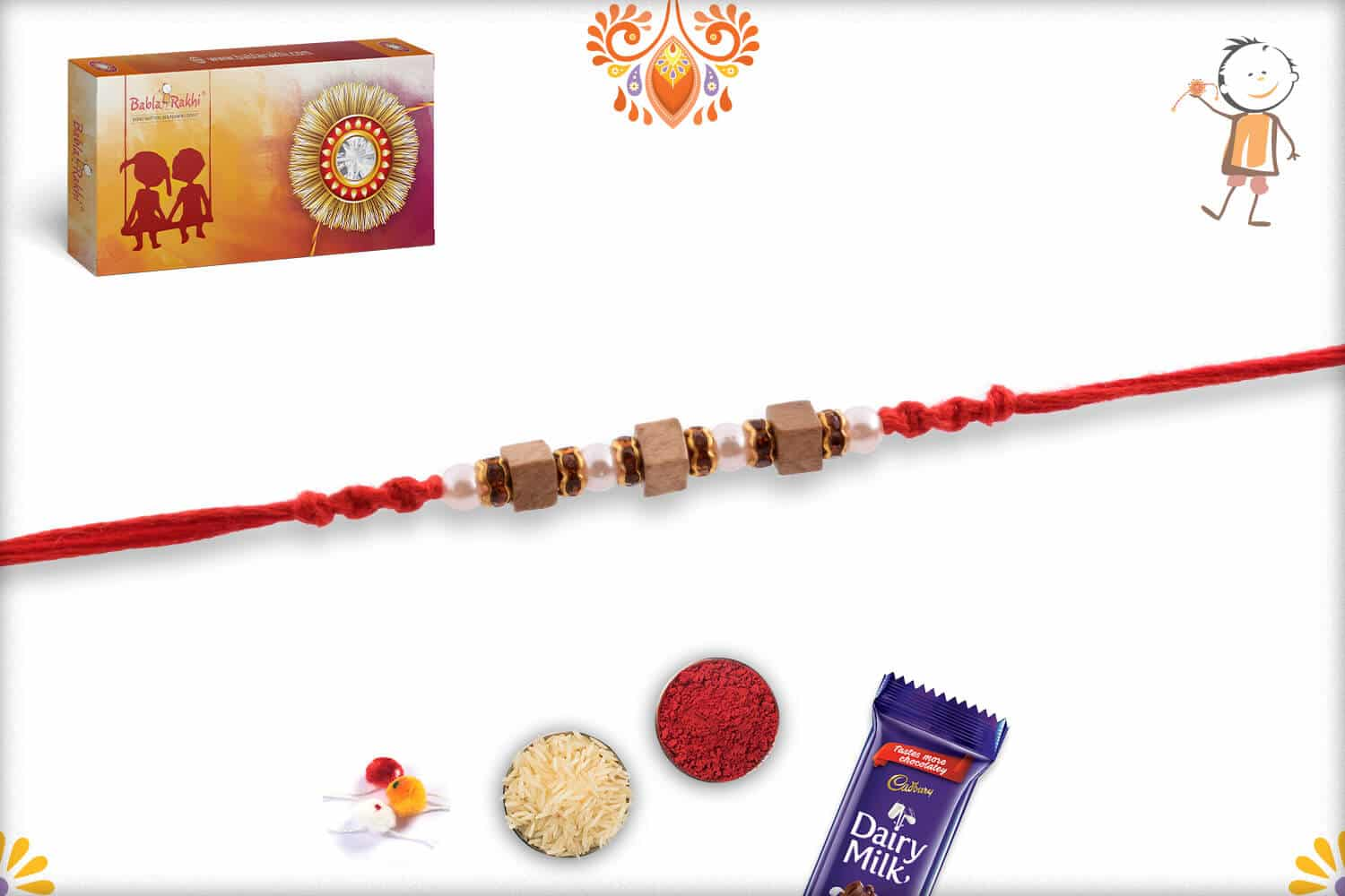 Handcrafted Square Sandalwood Bead with Pearl Rakhi 2