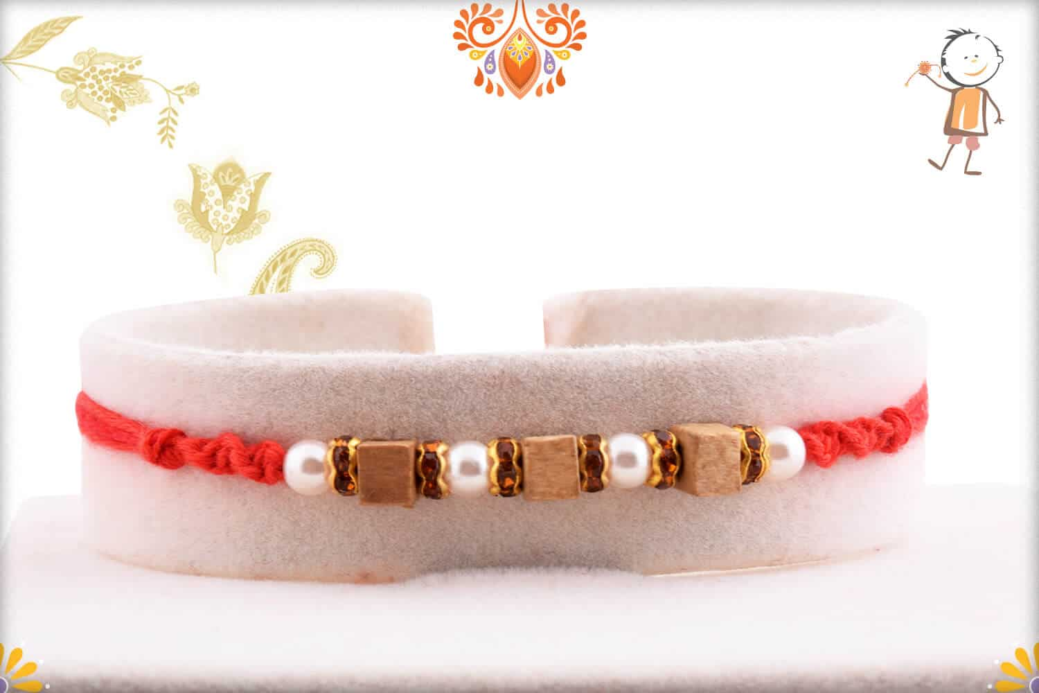 Handcrafted Square Sandalwood Bead with Pearl Rakhi 1