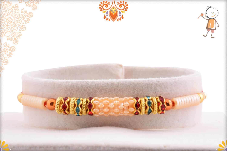 Designer Pearls Rakhi with Diamond Rings 1