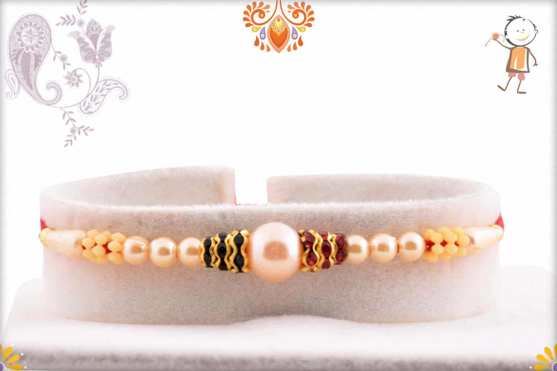 Stylish Pearl Rakhi with Diamond Rings 1