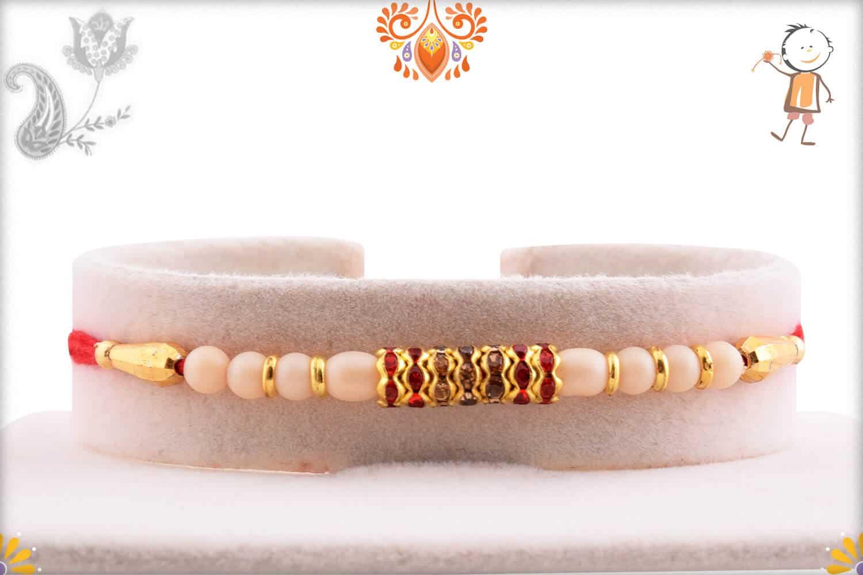Royal Pearl with Shining Diamond Rakhi | Send Rakhi Gifts Online 1