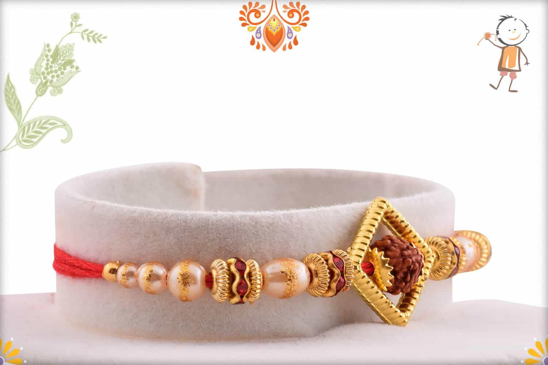 Auspicious Rudraksh with Shining Pearl Rakhi 2