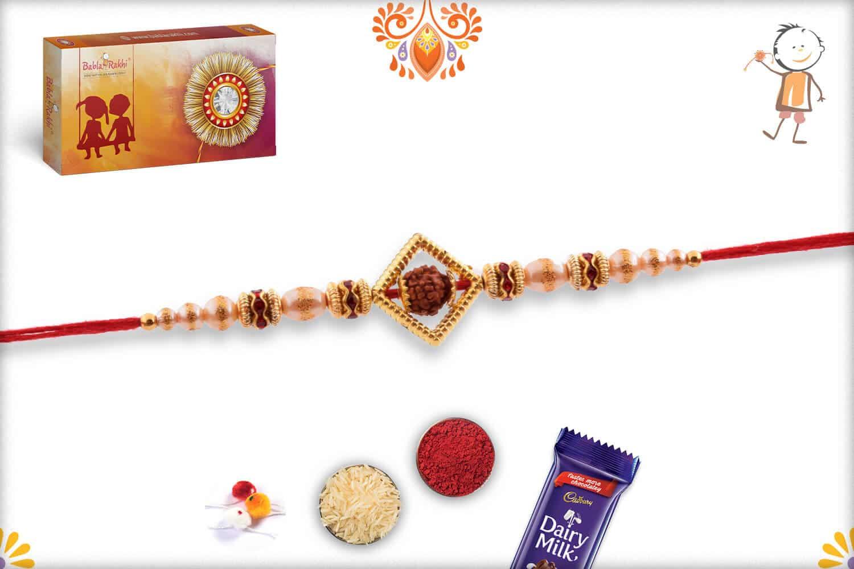 Auspicious Rudraksh with Shining Pearl Rakhi 3