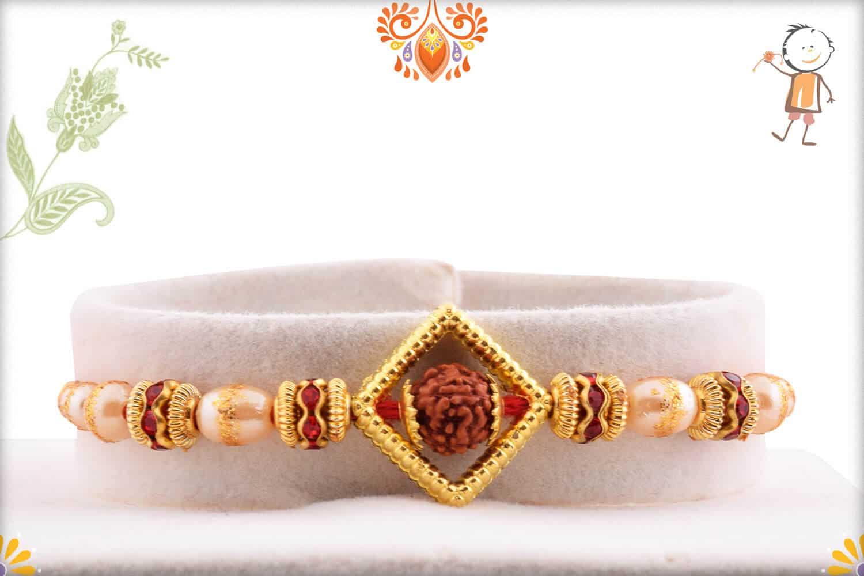 Auspicious Rudraksh with Shining Pearl Rakhi 1