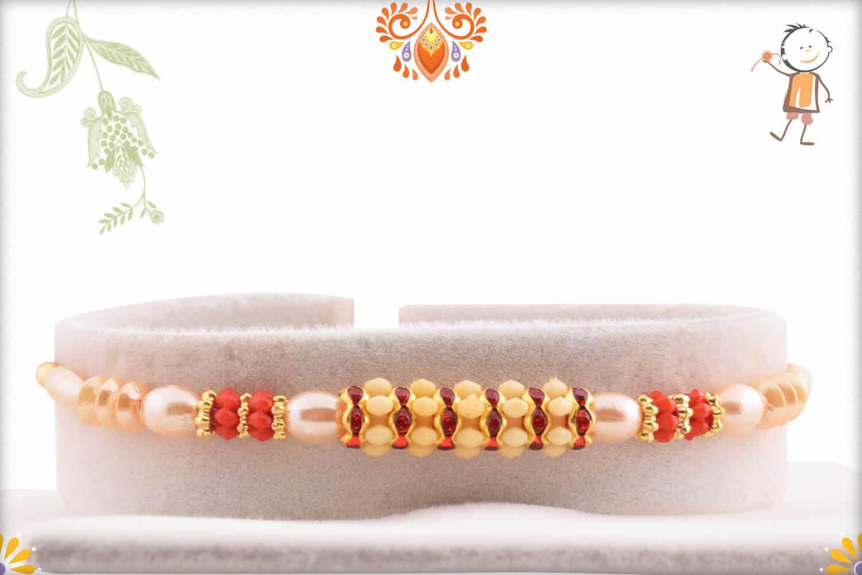 Traditional Pearl Rakhi with Diamond Rings 1
