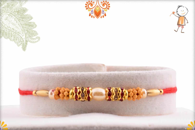 Simple Oval Pearl Rakhi with Diamond Rings 1
