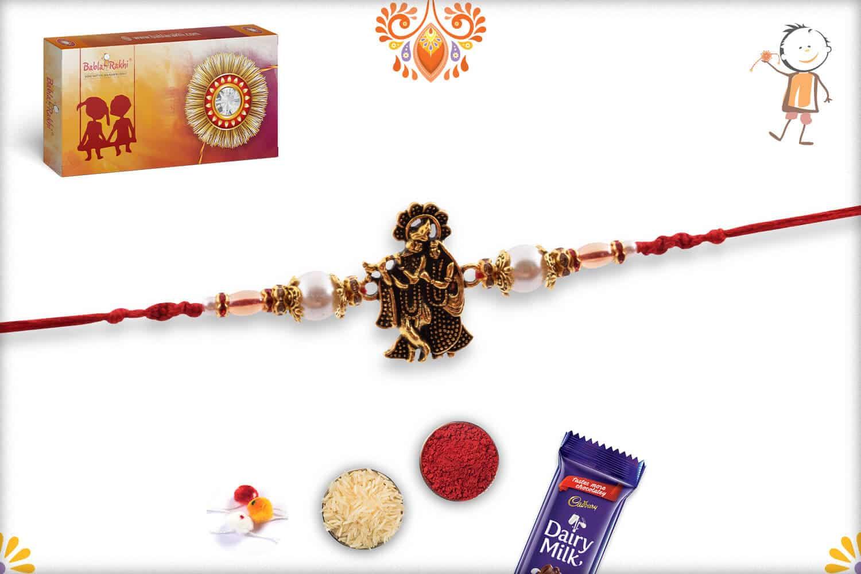 Devine Radha-Krishna Rakhi with Beautiful Pearls 3