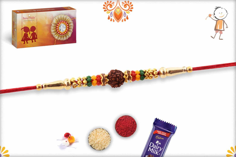 Single Rudraksh Rakhi with Beads | Send Rakhi Gifts Online 2