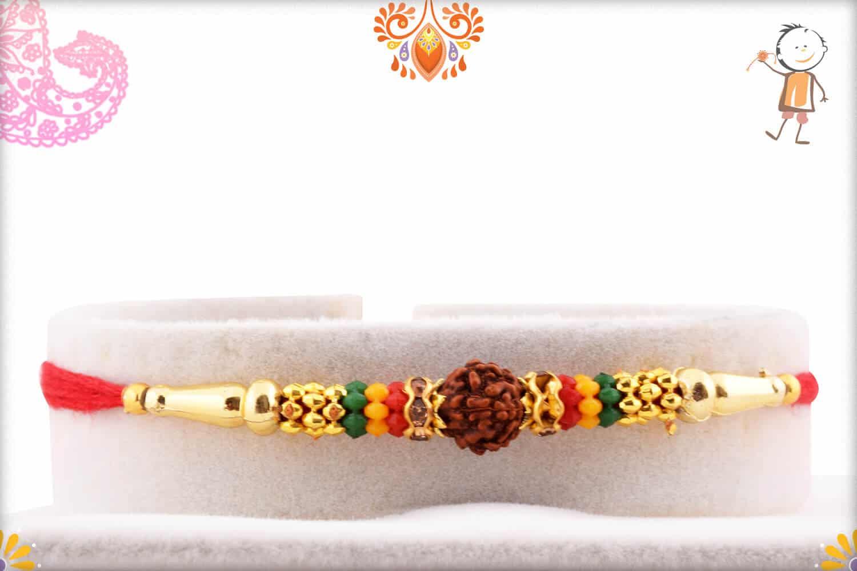 Single Rudraksh Rakhi with Beads | Send Rakhi Gifts Online 1