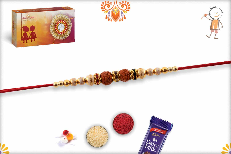 Devotional Rudraksh Rakhi with Golden Beads   Send Rakhi Gifts Online 2