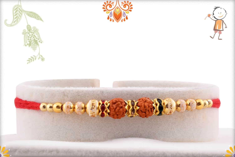Devotional Rudraksh Rakhi with Golden Beads   Send Rakhi Gifts Online 1