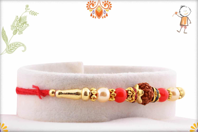 Elegant Rudraksh Rakhi with Red Beads and Pearls | Send Rakhi Gifts Online 2