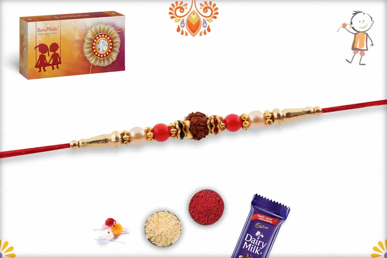 Elegant Rudraksh Rakhi with Red Beads and Pearls | Send Rakhi Gifts Online 3