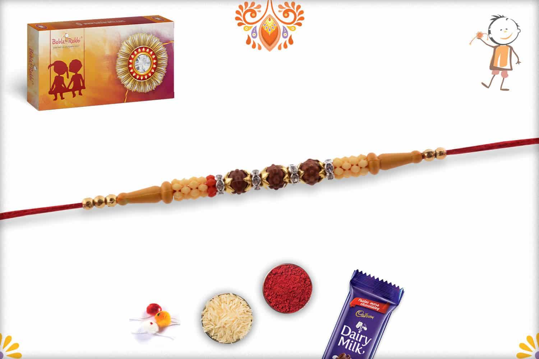 Simple 3 Rudraksh Rakhi with Diamond Rings | Send Rakhi Gifts Online 2