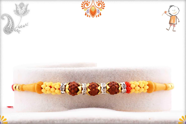 Simple 3 Rudraksh Rakhi with Diamond Rings | Send Rakhi Gifts Online 1