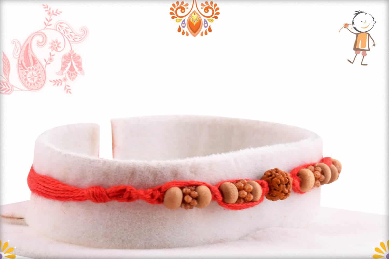 Single Rudraksh with Sandalwood Beads Rakhi with Handcrafted Thread | Send Rakhi Gifts Online 2