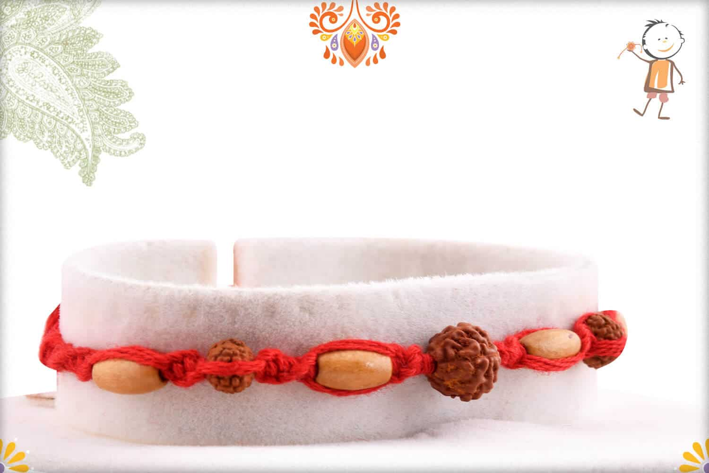 Uniquely Hnadcrafted Rudraksh Rakhi with Sandalwood Beads 2