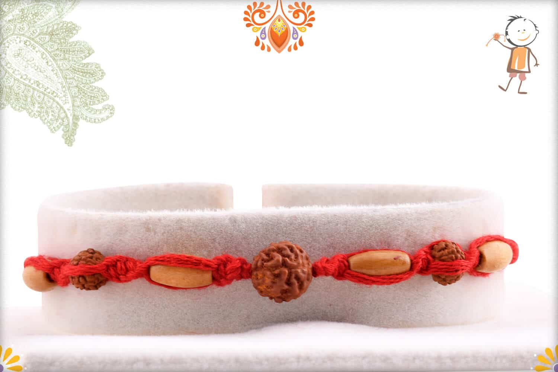 Uniquely Hnadcrafted Rudraksh Rakhi with Sandalwood Beads 1