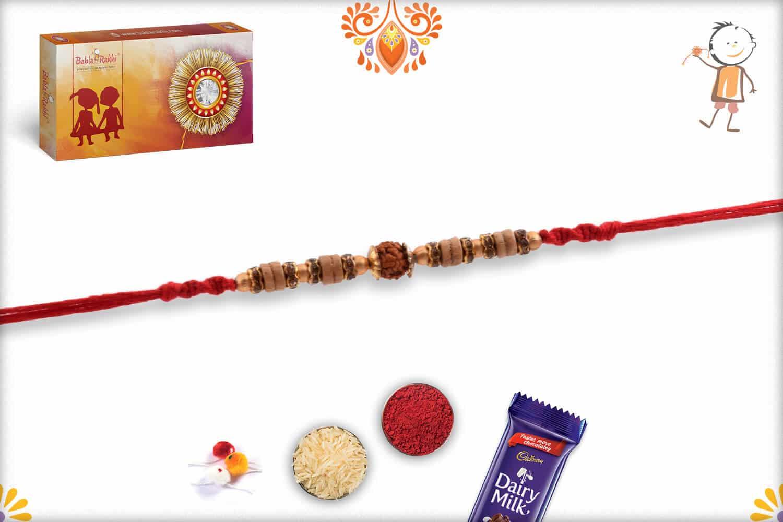 Finely Crafted Sandalwood Beads Rudraksh Rakhi | Send Rakhi Gifts Online 2