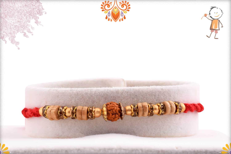 Finely Crafted Sandalwood Beads Rudraksh Rakhi | Send Rakhi Gifts Online 1