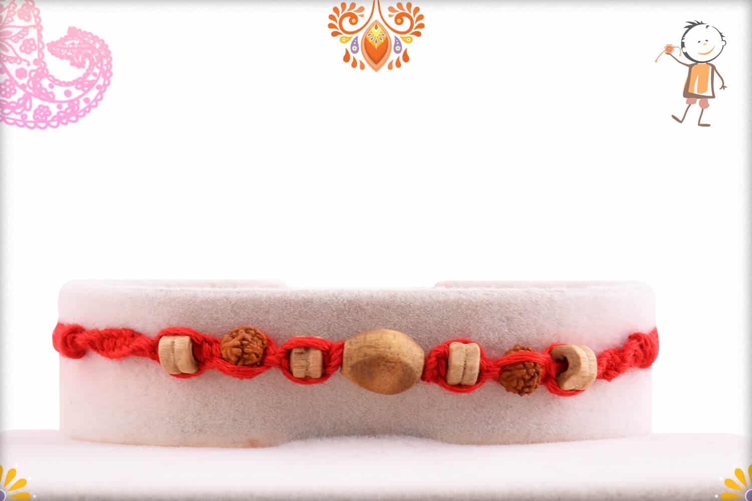 Uniquely Handcrafted Red Thread Rakhi with Rudraksh | Send Rakhi Gifts Online 1