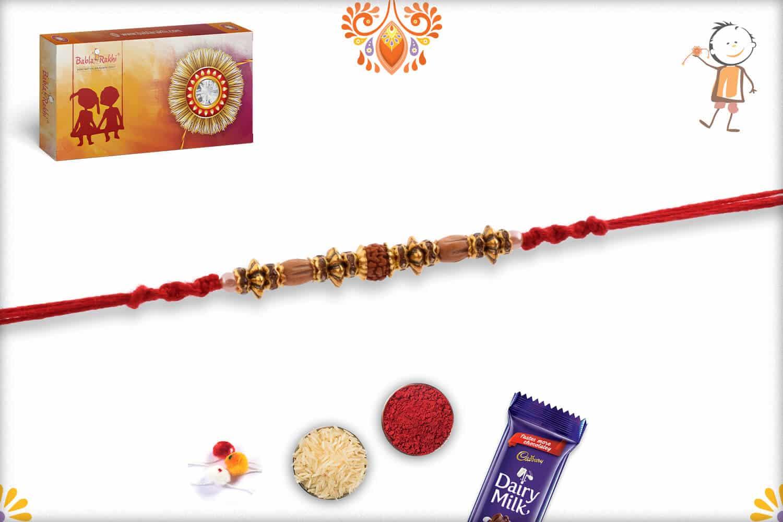 Antique Designer Beads with Rudraksh Rakhi | Send Rakhi Gifts Online 2