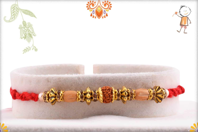 Antique Designer Beads with Rudraksh Rakhi | Send Rakhi Gifts Online 1