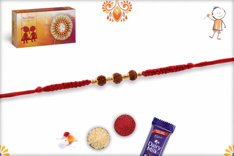 Three Rudraksh Rakhi with Beautifully Handcrafted Thread | Send Rakhi Gifts Online 2
