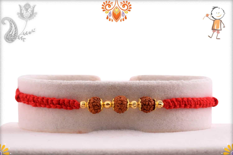 Three Rudraksh Rakhi with Beautifully Handcrafted Thread | Send Rakhi Gifts Online 1