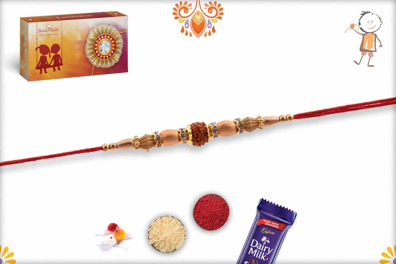Single Rudraksh Rakhi with Red-Rose Beads 2