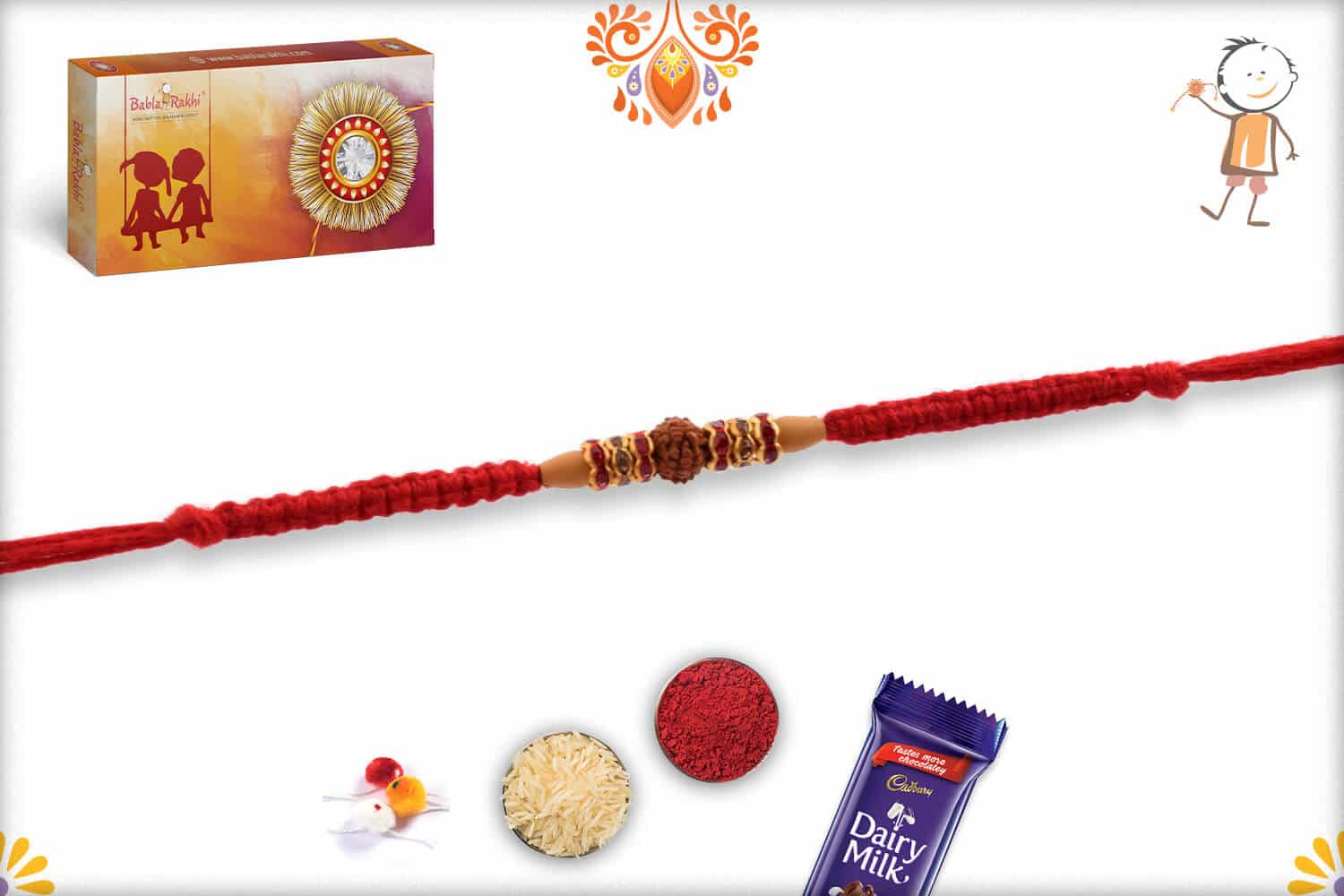 Diamond Rings with Single Rudraksh Rakhi with Handcrafted Thread 2