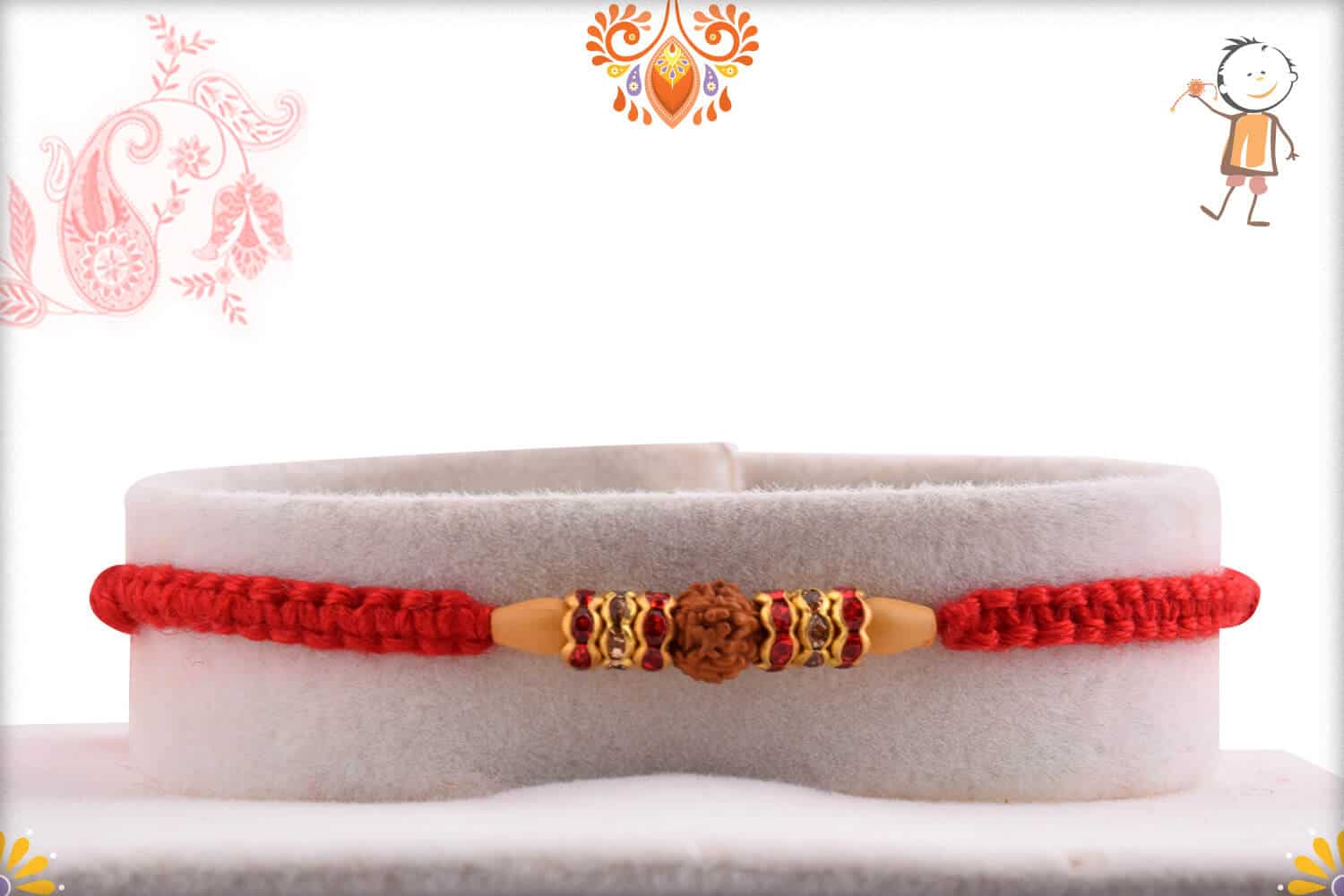 Diamond Rings with Single Rudraksh Rakhi with Handcrafted Thread 1
