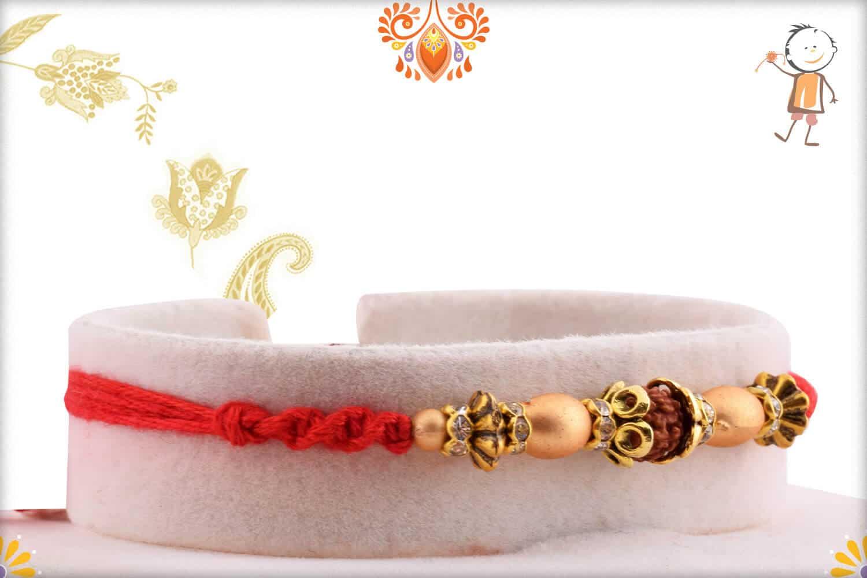 Elegant Rudraksh Rakhi with Unusual Beads | Send Rakhi Gifts Online 2