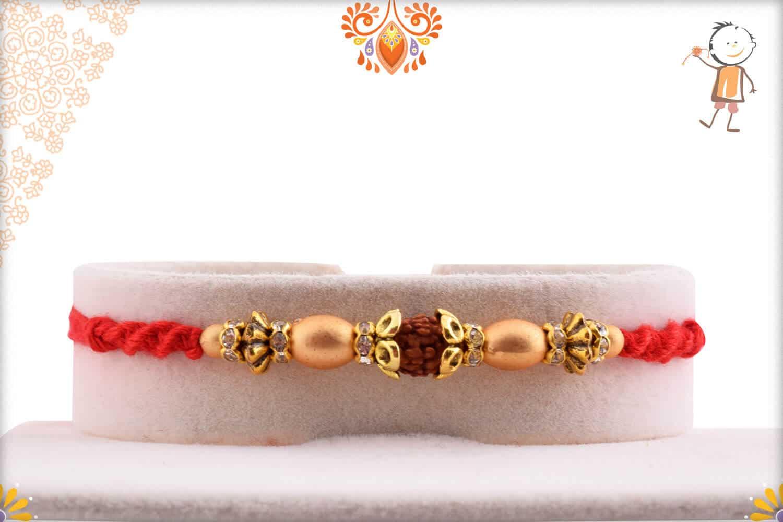 Elegant Rudraksh Rakhi with Unusual Beads | Send Rakhi Gifts Online 1