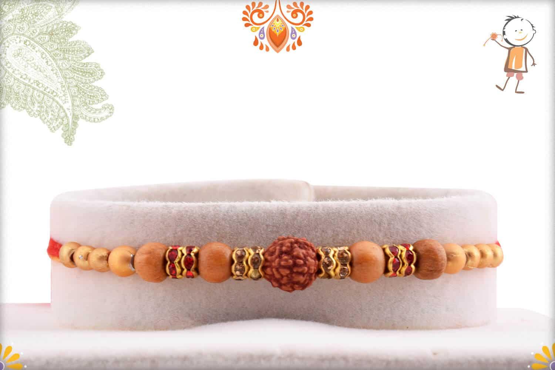 Traditional Single Rudraksh Rakhi with Sandalwood Beads 1