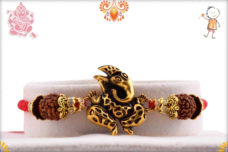 Antique Ganeshji with Two Rudraksh Rakhi 1