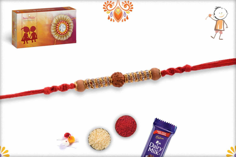 Stunning Rudraksh Rakhi with Diamond Rings and Sandalwood Beads 2