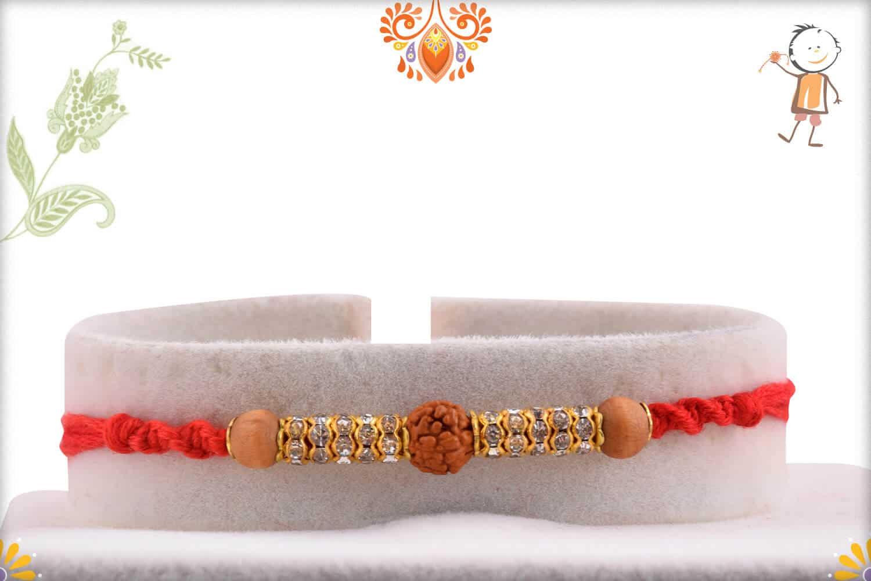 Stunning Rudraksh Rakhi with Diamond Rings and Sandalwood Beads 1