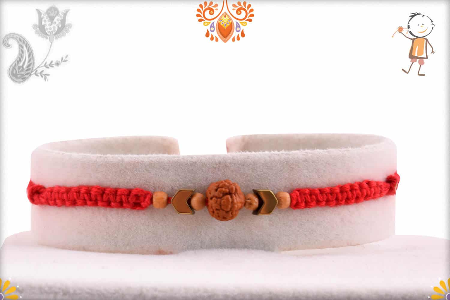 Uniquely Knotted Rudraksh Rakhi with Arrow Beads | Send Rakhi Gifts Online 1