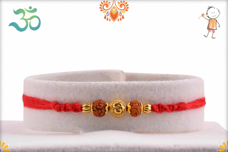 Golden OM Bead with Two Rudraksh Rakhi 1