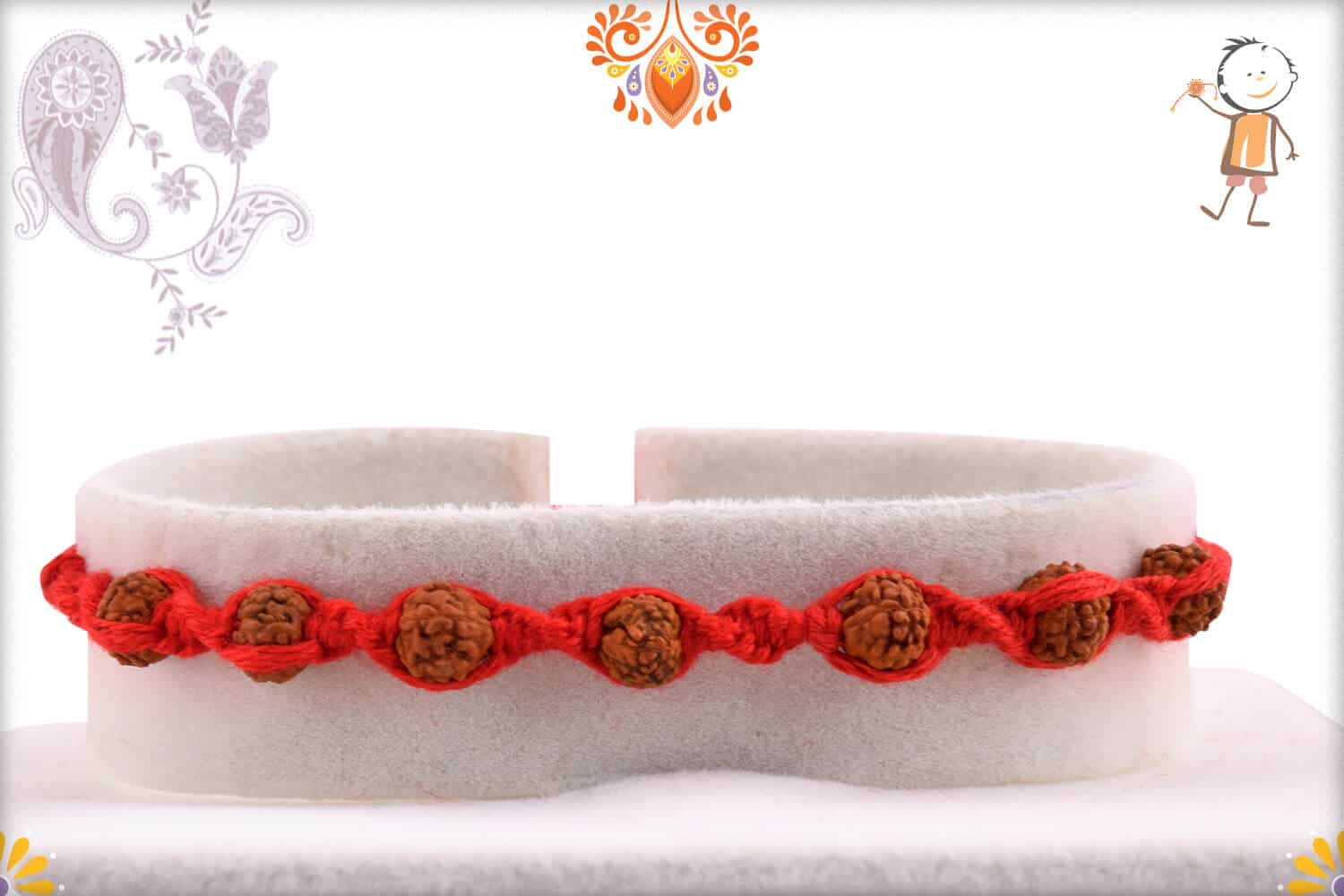 Auspicious 7 Rudraksh Rakhi with Beautifully Handcrafted Thread 1
